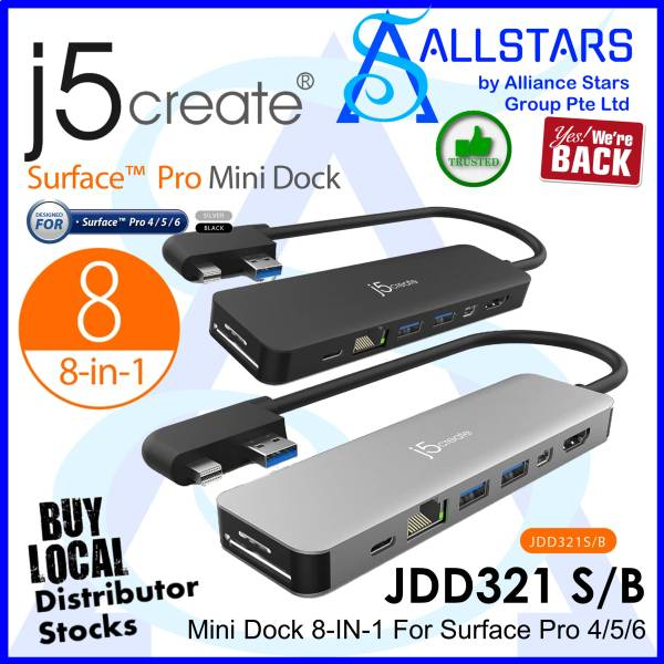 (ALLSTARS : We are Back / USB DOCK PROMO) J5CREATE JDD321S Silver / JDDD321B Black / 8-in-1 Mini Dock for Surface PRO (4K HDMI + GBE LAN + USB3.1 Type Cx1, Type Ax2 + Card Reader) (Made for Surface Pro 4/5/6) (Warranty 2years with DigitalHUB)