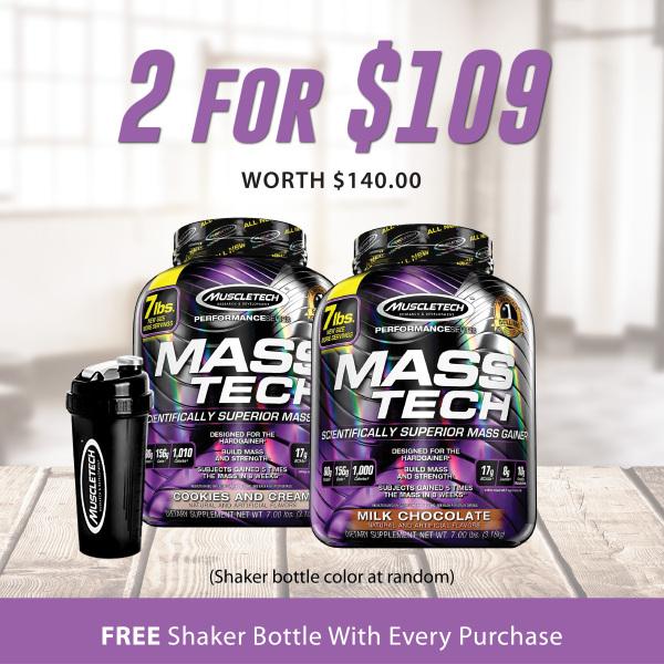 Buy [Best Deal Bundle] 2x MuscleTech MassTech + 1 MuscleTech Shaker Bottle Singapore