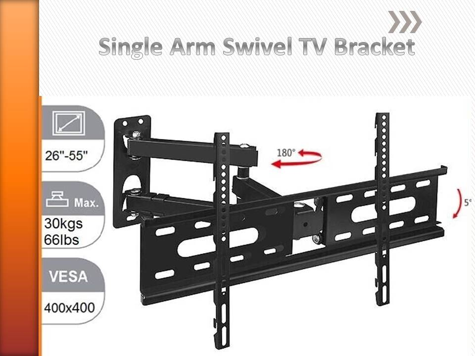 Avl D37 Professional Swivel Tv Bracket , 180 Deg , 5 ~ 10 Deg Tilt , 24 Inch To 55 Inch With Vesa Mounting Up To 400 X 400.