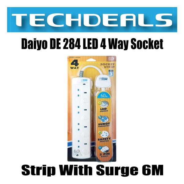 Daiyo DE 284 LED 4 Way Socket Strip With Surge 6M