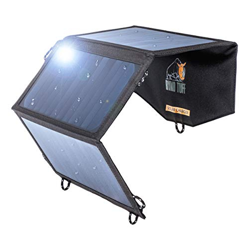Ryno Tuff Ryno-Tuff Portable Solar Charger for Camping - 21W Foldable Solar Panel Charger 2 USB Ports - Waterproof & Durable, Compatible with iPhone, iPad, Galaxy, LG, Nexus, Battery Packs, All USB Devices