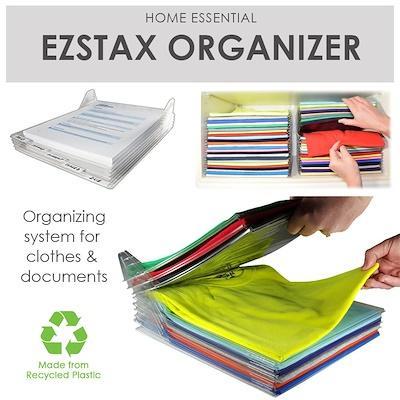 MISSHER EZSTAX Clothes Organizer and Shirt Folder Closet Drawer Desk Cabinet Organization
