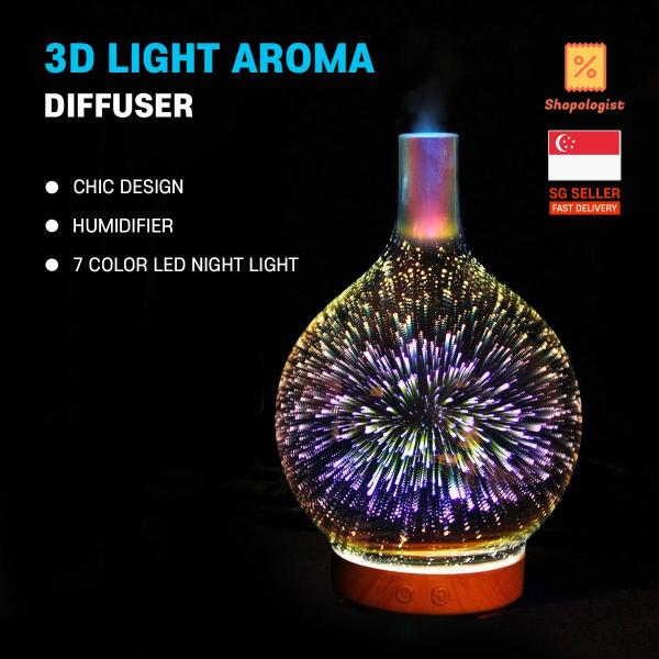 3D Essential Oil Diffuser Cool Mist Humidifier Ultrasonic Aromatherapy Diffuser with 7 Color Changing LEDs Night Light,Waterless Auto-Off for Home,Office,Yoga,Baby,Sleep *FREE SHIPPING*
