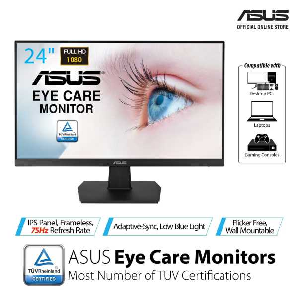 ASUS VA24EHE Eye Care Monitor – 23.8 inch, Full HD, IPS, Frameless, 75Hz, Adaptive-Sync/FreeSync™, Low Blue Light, Flicker Free, Wall Mountable