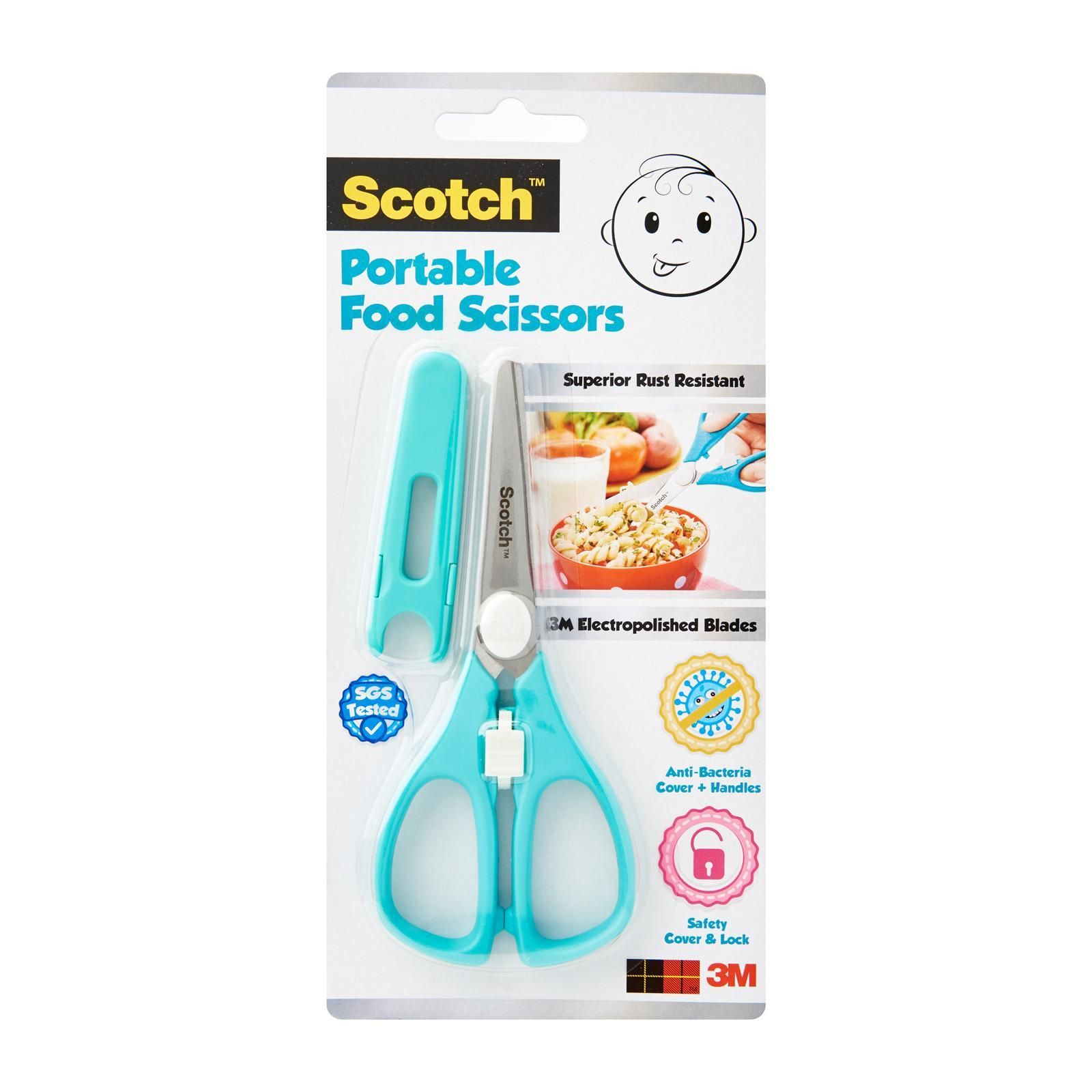 3M Scotch Portable Anti-Bacterial Food Scissors For Baby Food With Safety Cover And Lock