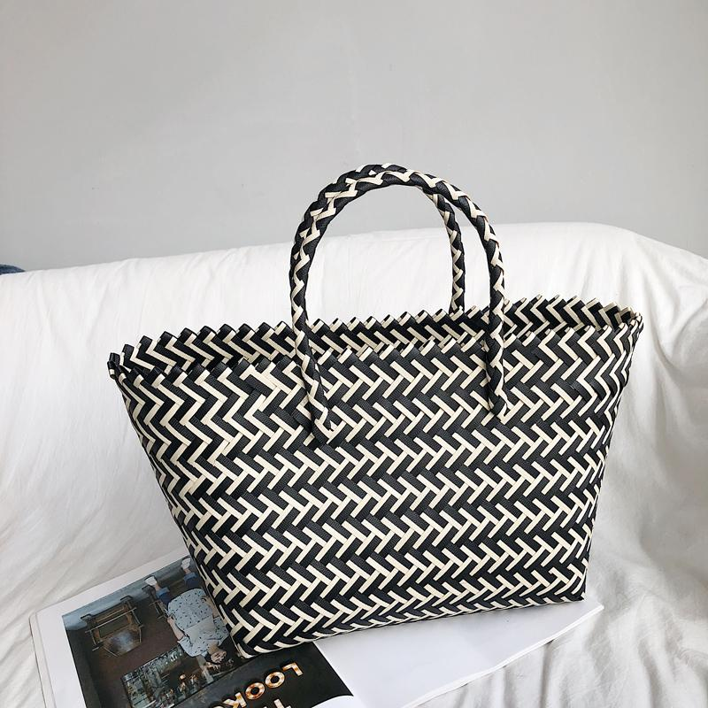 Woven Bag Female Big Book Bags 2019 New Style Basket Handbag Simple Large Capacity Handmade Straw Bag Beach Bag