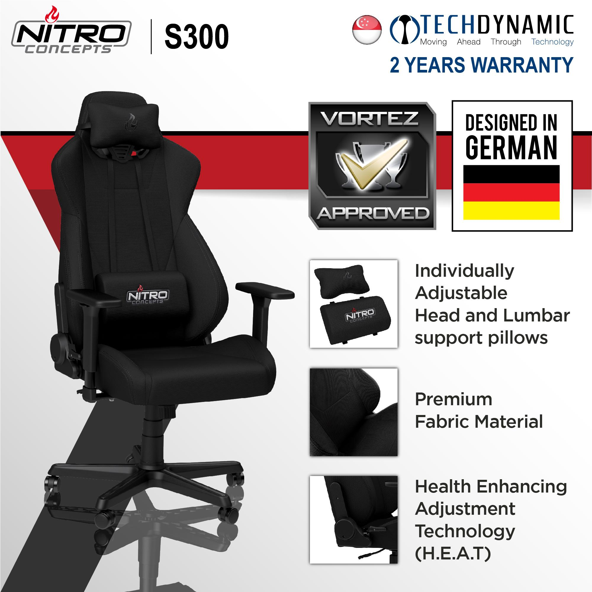 Nitro S300 FABRIC GAMING CHAIR Black/Black-Red/Black-White  [Available in 3 colors]