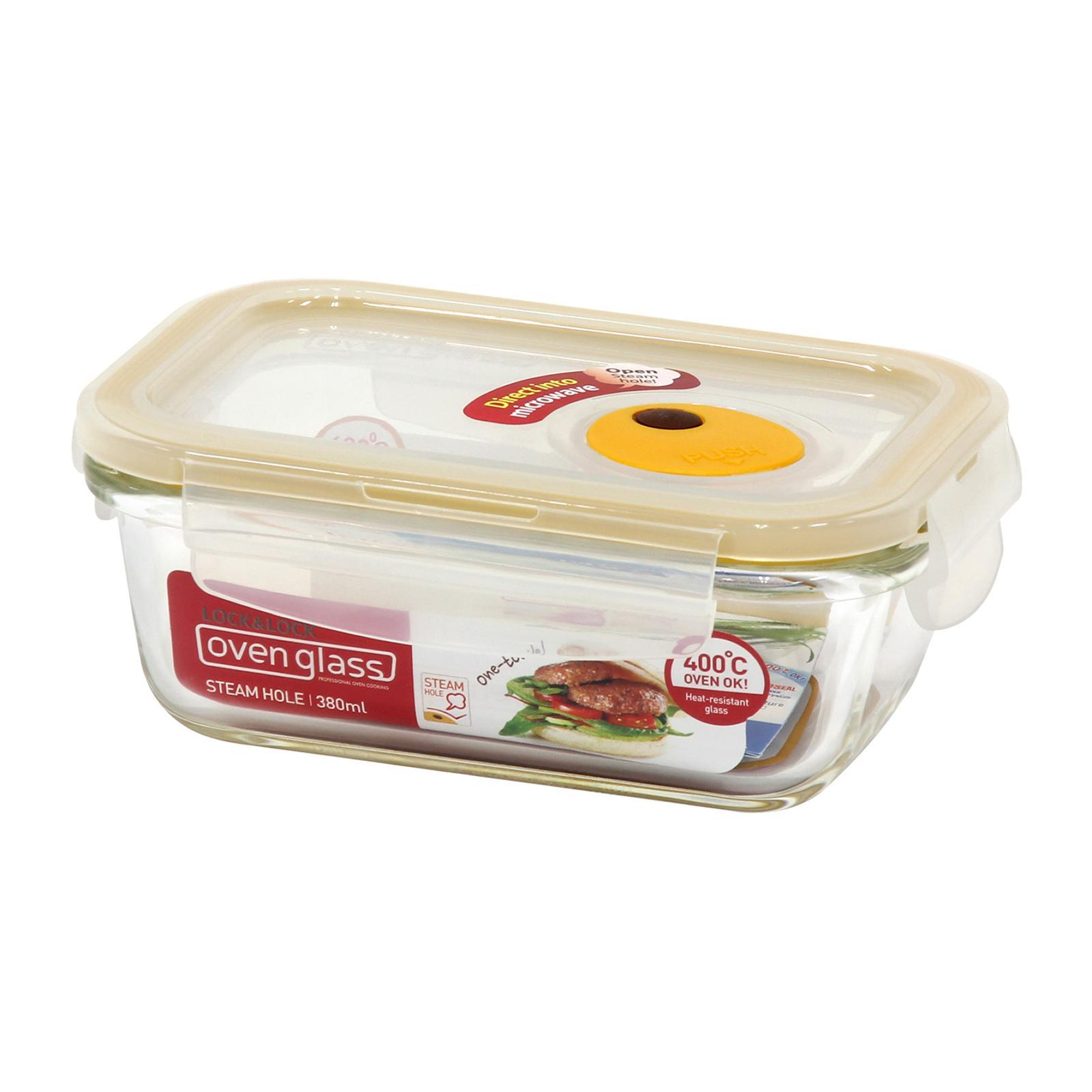 Lock and Lock Steam Hole Glass Container Rectangle 380Ml