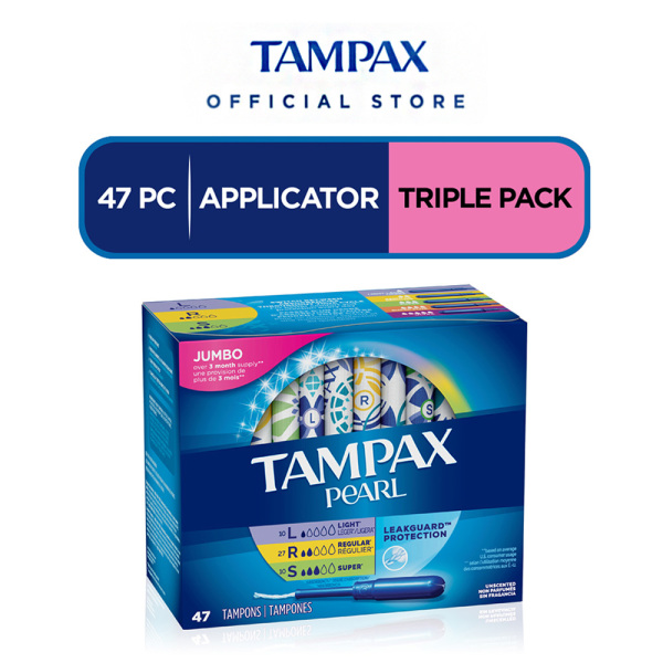 Buy Tampax Pearl Tampons Light/Regular/Super Absorbency with LeakGuard Braid Triple Pack (Unscented) Singapore