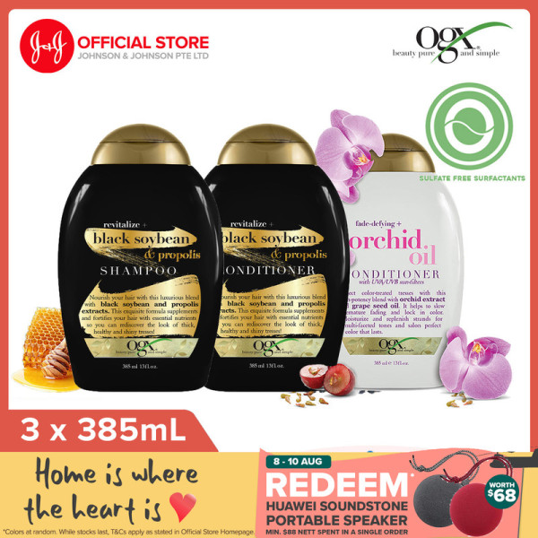 Buy OGX Black Soybean & Propolis Shampoo & Conditioner and Orchid Oil Conditioner Singapore