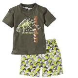 Best Offer Baby Kids Summer Fall Beach Suit Boys Dinosaur T Shirt Pants Shorts Outfit Sets For 2 7Y Green