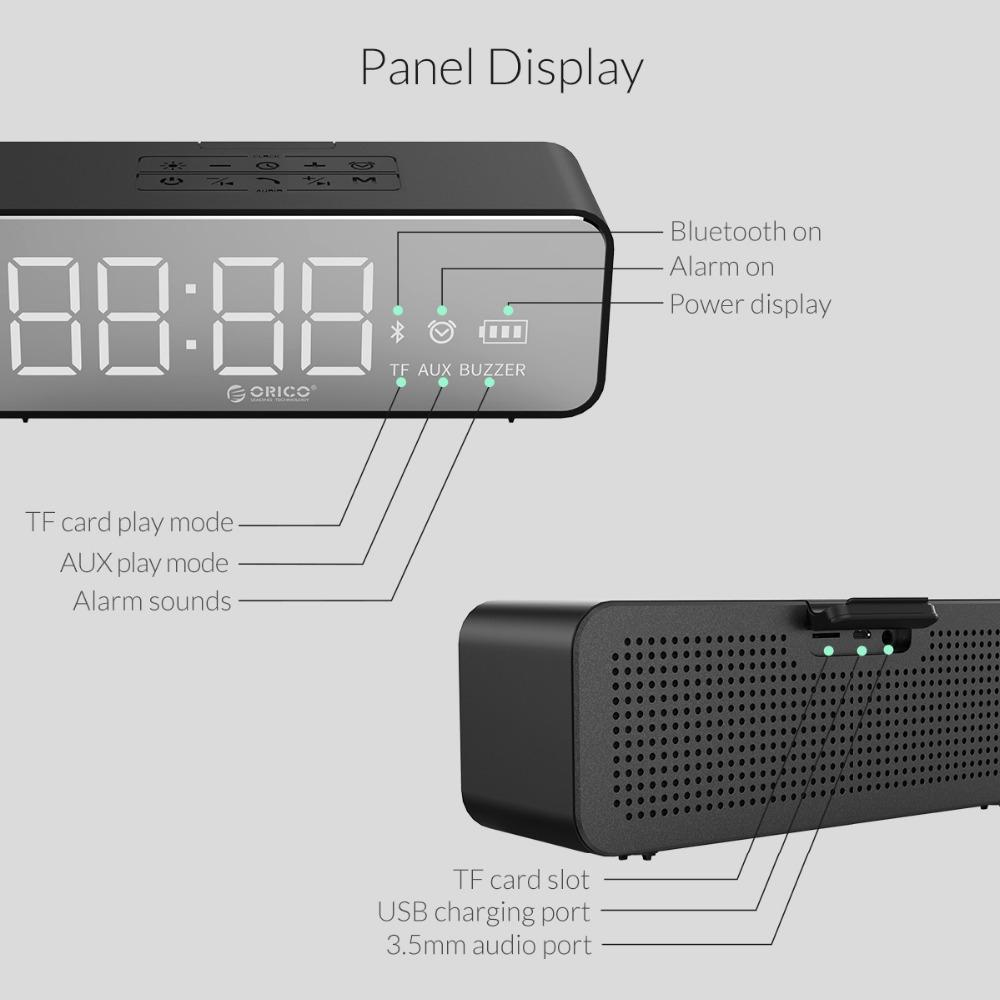 Orico Portable Wireless Bluetooth 4.2 Der Speaker With Alarm Clock Lde Display Screen Music Surround Outdoor Stereo Sound Waterproof Support Tf Card Aux