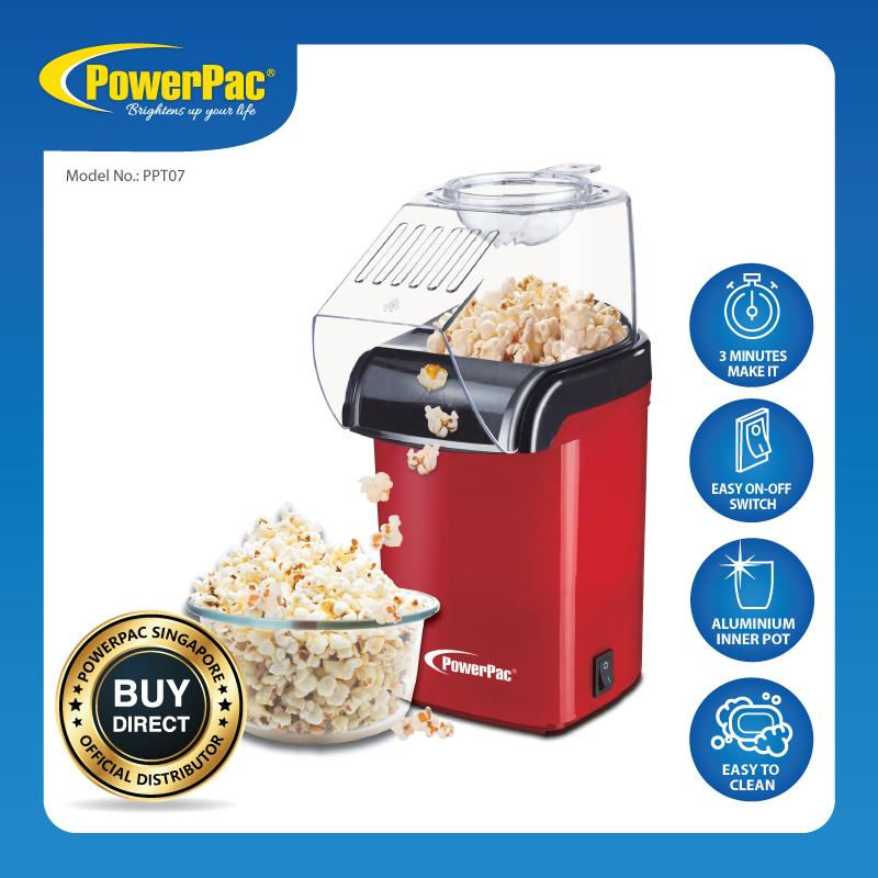 Powerpac Electric Hot Air Popcorn Maker Corn Popper Machine With Transparent Housing & Integrated Filling Scoop (ppt07) By Powerpac.