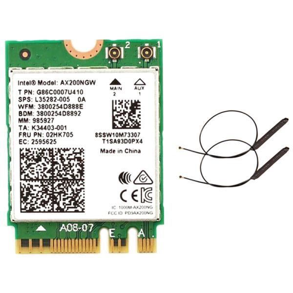Giá Dual Band 2.4Gbps Intel Wi-Fi 6 AX200NGW 802.11Ax/Ac MU-MIMO 2X2 Wifi AX200 NGFF M.2 Bluetooth 5.0 Network Wlan Card+Antenna