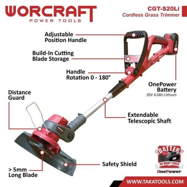 Worcraft OnePower Cordless Grass Trimmer (Tool Only, without battery and charger)