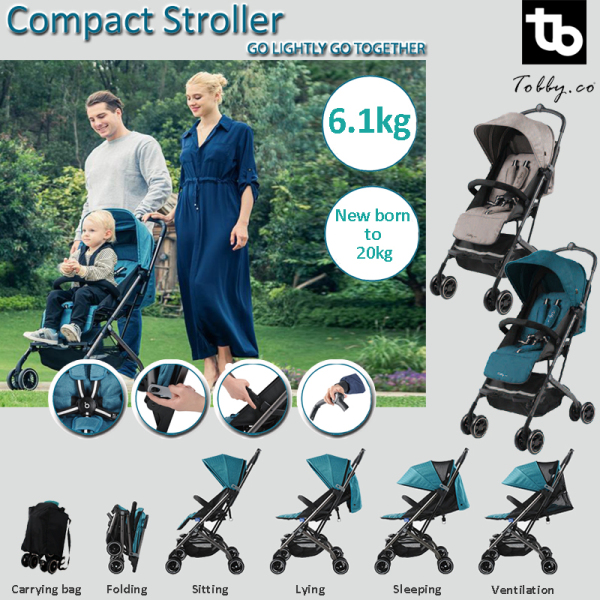 Tobby Stroller. Compact. Suitable from new born to 20kg. Great for travel and outdoor. M1 Singapore