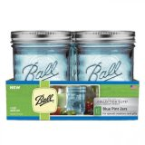 Sale Ball Collection Elite Wide Mouth Pint 16Oz Blue Mason Jars Set Of 4 Ball Wholesaler