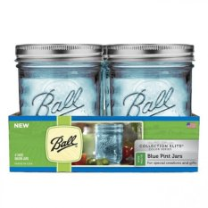 Discount Ball Collection Elite Wide Mouth Pint 16Oz Blue Mason Jars Set Of 4 Ball