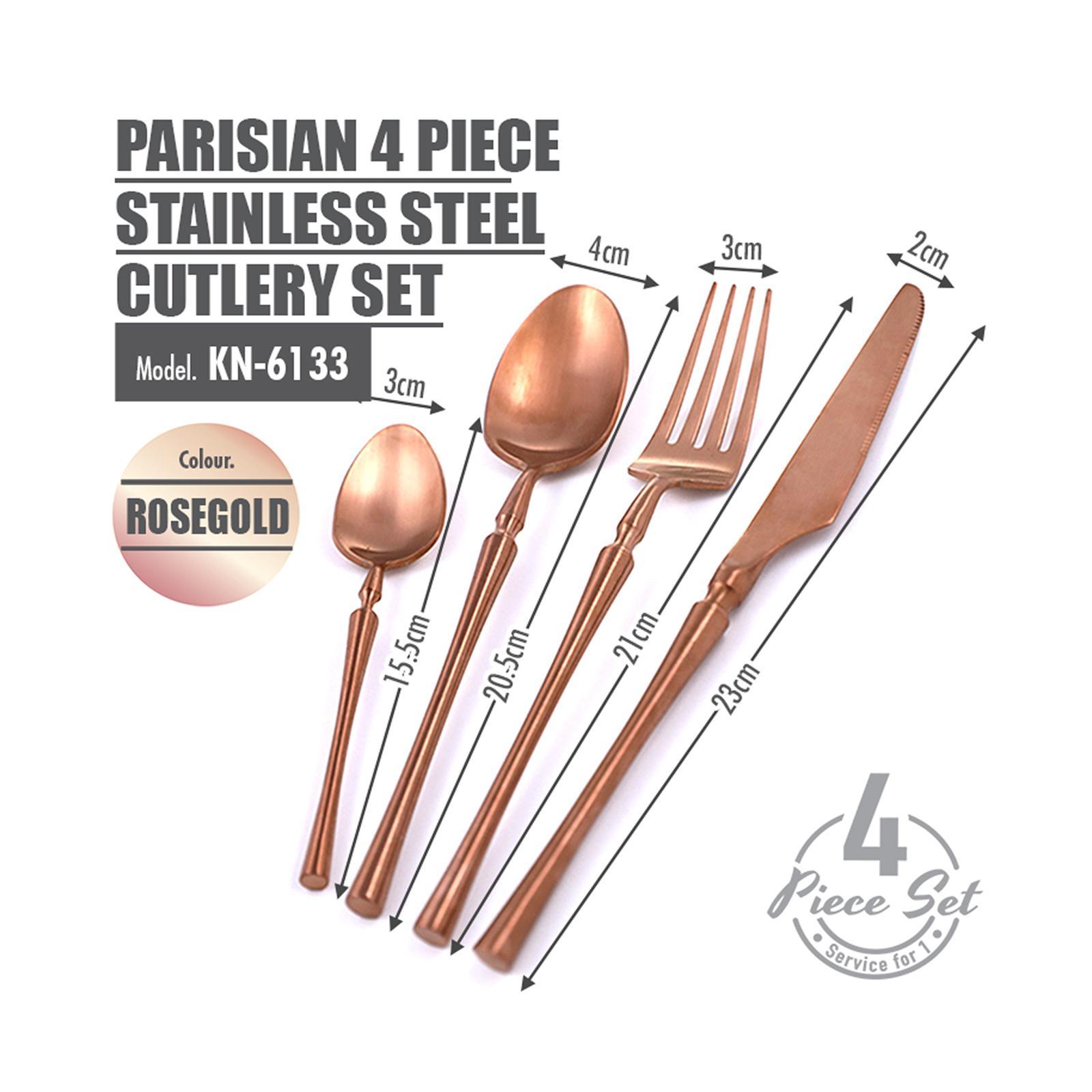 HOUZE Parisian 4 Piece Stainless Steel Cutlery Set (Rose Gold)