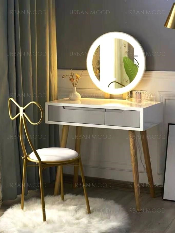 CHERIE LED Mirror Vanity Table & Chair Set