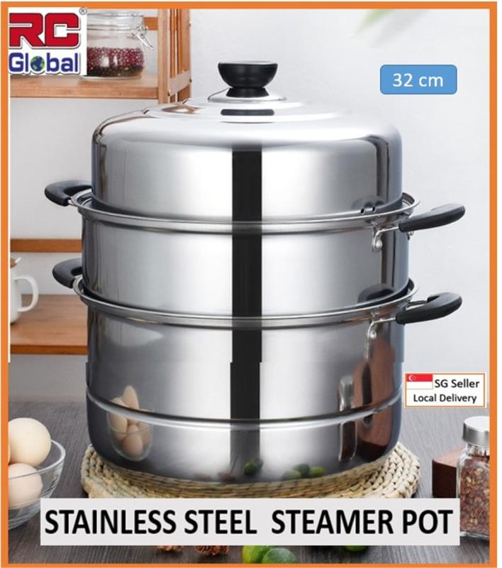RC-Global Steam pot / Steamer Pot / 30-32 cm Stainless Steel Steam Pot /  Kitchen Steamer / 3 - 4 Layer multipurpose / Energy Saver Steamer / steamboat hotpot / Yuan Yang Pot Singapore