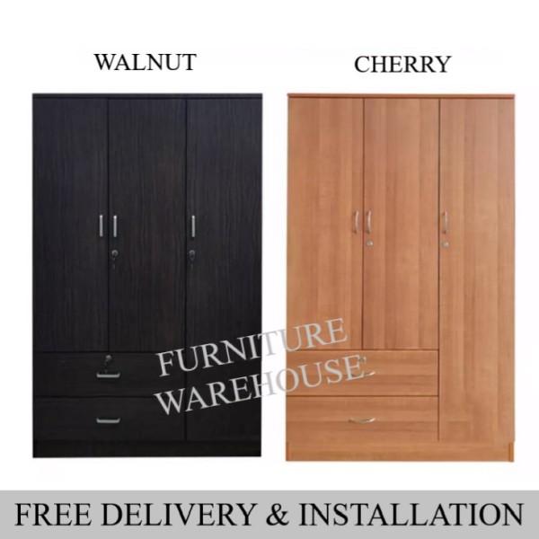 3 Doors Wardrobe Cabinet (Free Installation) / Standalone Wardrobe / Open Door Wardrobe