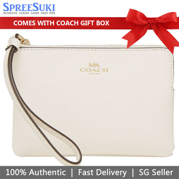 Coach Small Wristlet In Gift Box 100% Authentic Many Designs And Colours F58032 F34316