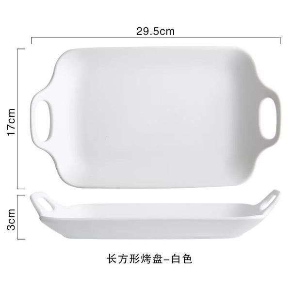 Jamison Handcrafted Ceramic Rectangular Serving Plate - White By Hippomart.sg.