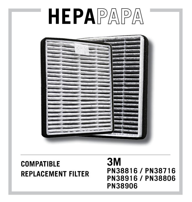 3M Car Air Purifier Compatible Replacement Filter PN38816 / PN38716 / PN38976 / PN38806 / PN38906 With Activated Carbon to Remove Odours & Harmful Gases [HEPAPAPA] [Free Alcohol Swab] Singapore
