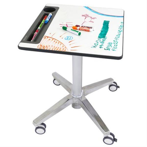 Adjustable White Board, Sit-Stand Desk, Clear Anodized