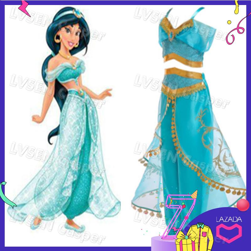 ecb7a849b Aladdin's Lamp Jasmine Costume Sequin Dresses For Girls Princess Costumes