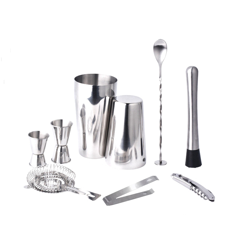 Boston Double Shaker Bar Tools Bpa Free Stainless Steel 304 High-End 9 Pieces Cocktail Shakers Set Ultimate Collection Bartender Muddler Kit