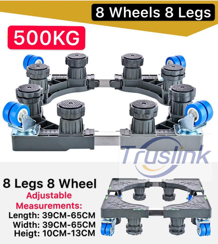 [sg Seller] Truslink Multi-Functional Movable Adjustable Base Stainless Steel Poles Support With Casters Mobile Case/dolly/roller, Strong Feet Protable For Washing Machine, Dryer And Refrigerator, Cabinet By Truslink Technology.