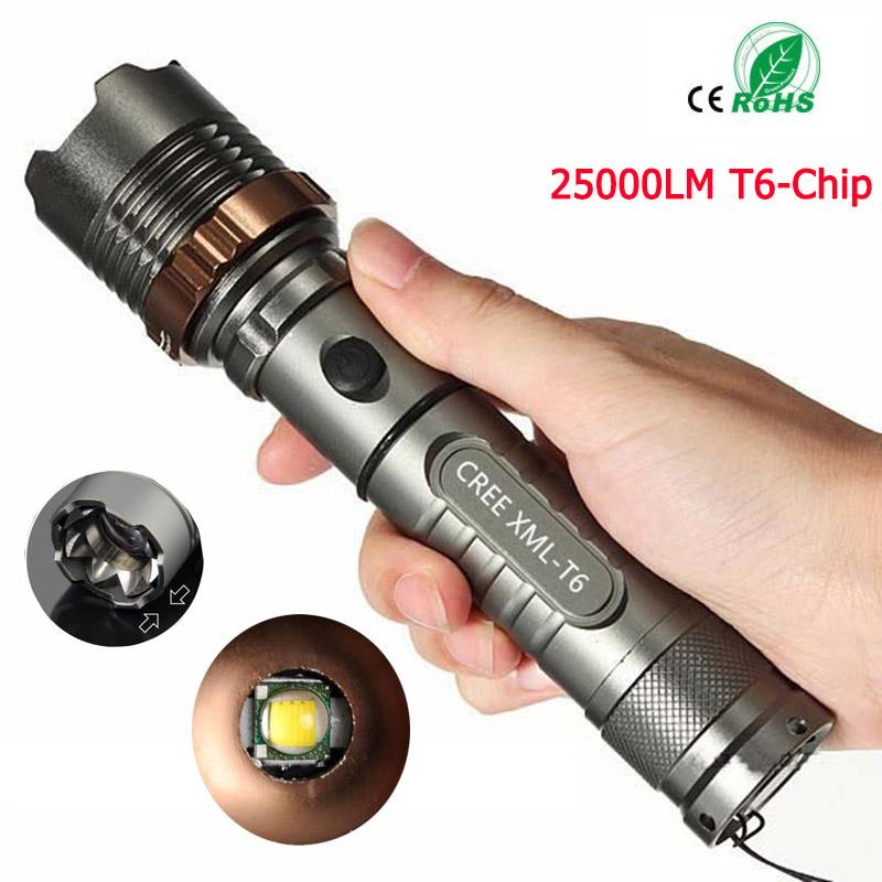Original 25000LM Super Bright Waterproof XML T6 LED Tactical Flashlight with Adjustable Focus and 5 Light Modes
