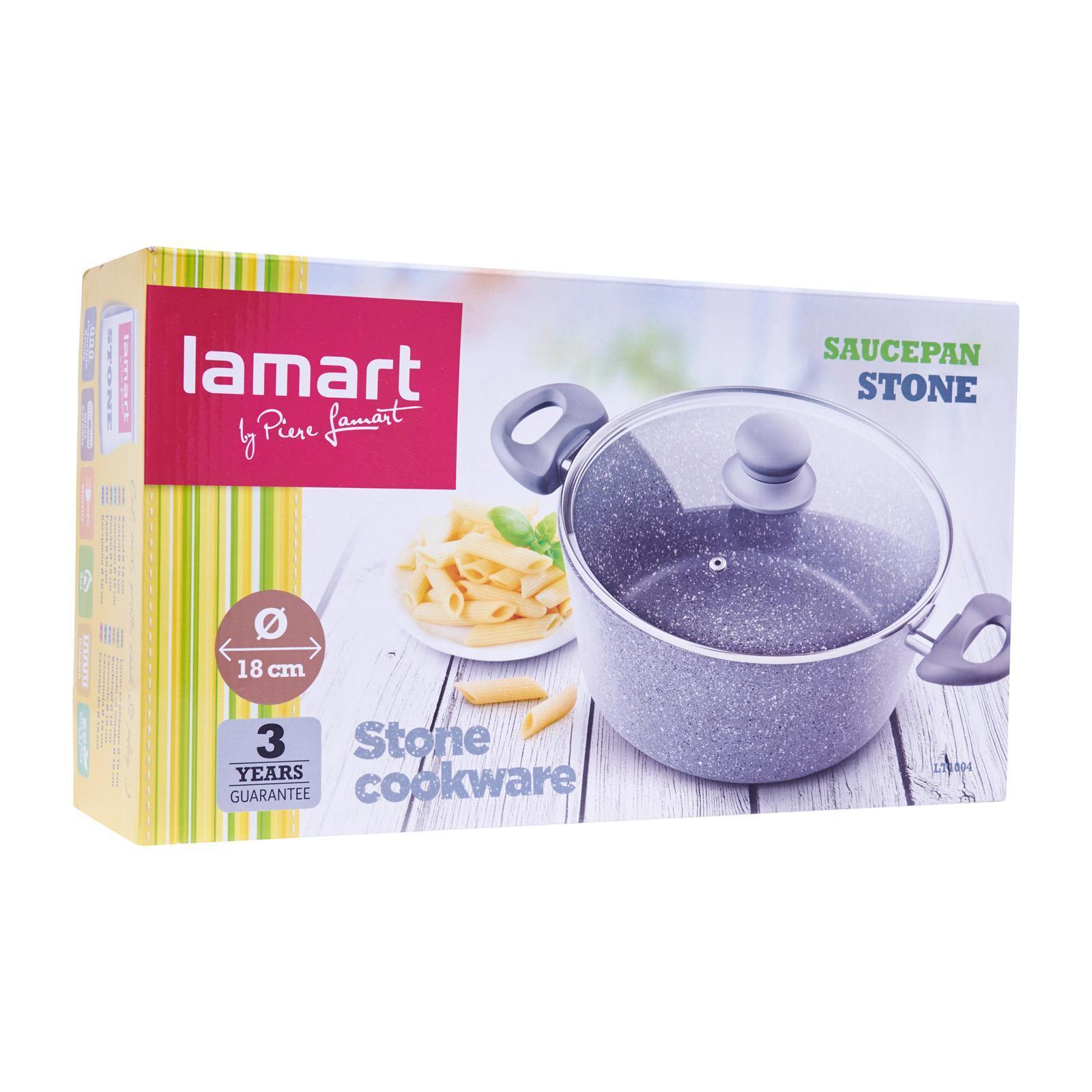 Lamart Induction Ready Marble Stone Saucepan/Casserole 18Cm 2.1L