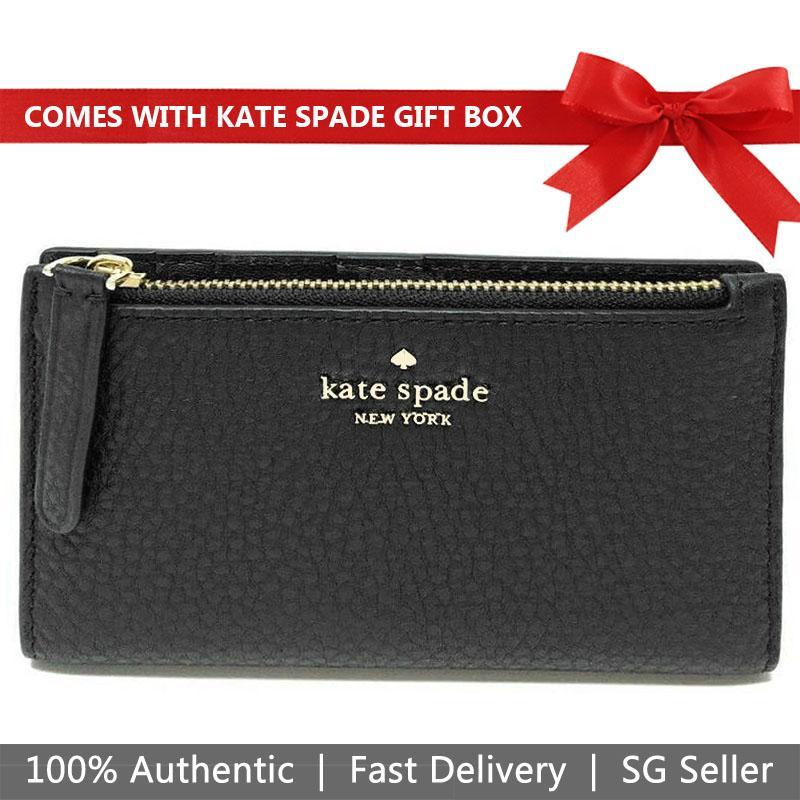 Kate Spade Jackson Small Slim Bifold Wallet Black # WLRU5472