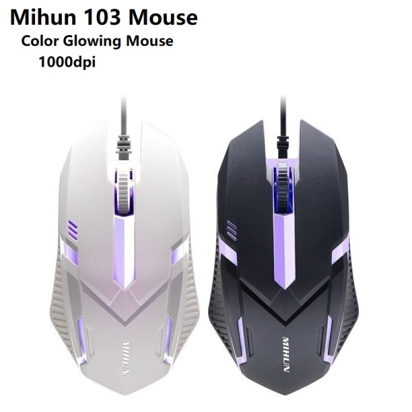 Mihun M103 Mouse LED Backlit Wired Mouse Gaming Accessories Optical Mice 1000Dpi suitable for Gamer / Office Use