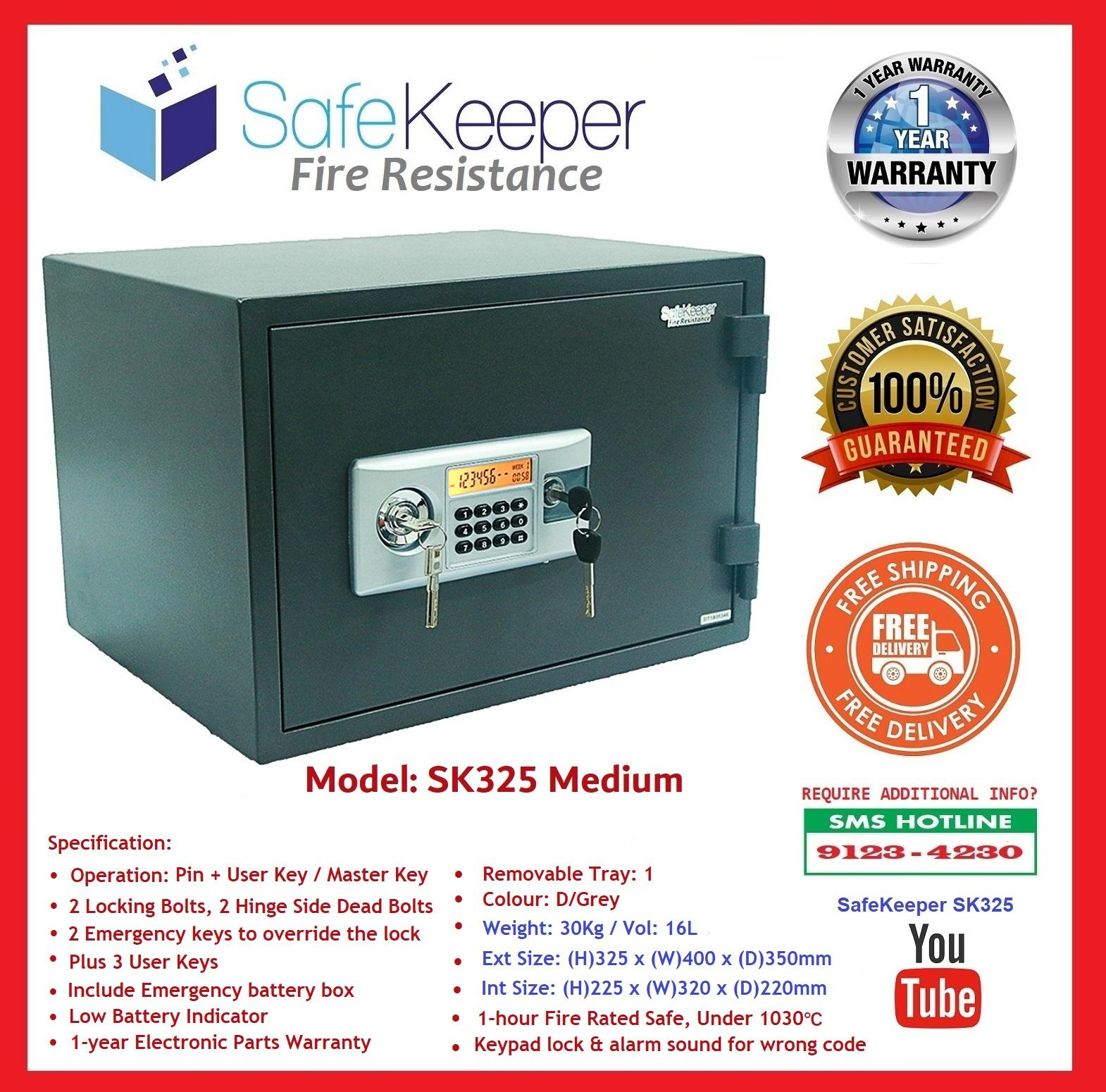 SafeKeeper Fire Resistance Safe ~ SK325 Medium ~100% New Product ~ Weight: 30KG ~ ( Color: D/Grey ) SG Seller ~ Free Delivery ~ 3 Working Days