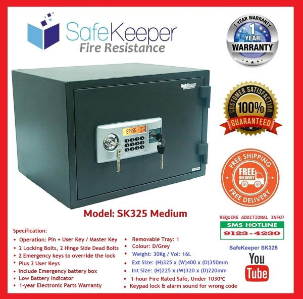 SafeKeeper Fire Resistance Safe ~ SK325 Medium ~100% New Product ~ Weight: 30KG ~ ( Color: D/Grey ) SG Seller ~ Free Delivery ~ Ready Stock ~ Satisfaction Guaranteed!