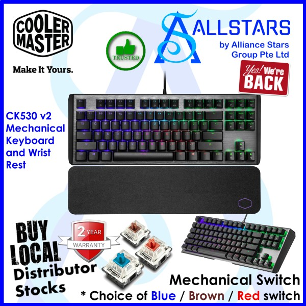 CM / Cooler Master / CoolerMaster CK530 v2 Tenkeyless RGB Mechanical Keyboard and Wrist Rest (CK-530-GKTR1-US) (Warranty 2years with BanLeong) Singapore