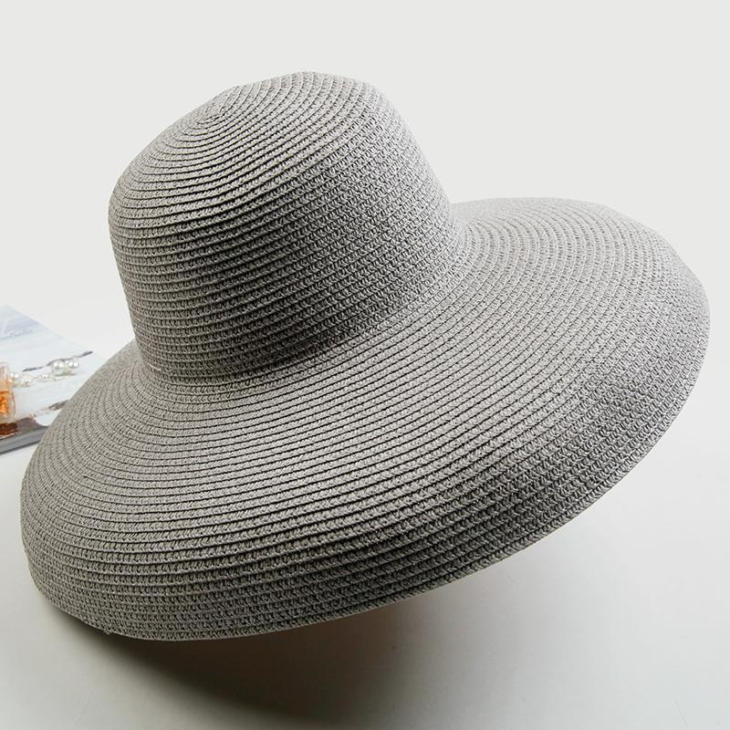 a31a7be14970e Straw Hat Beach Hepburn Cap French Elegant large brim hat mao zi Summer Sun -resistant