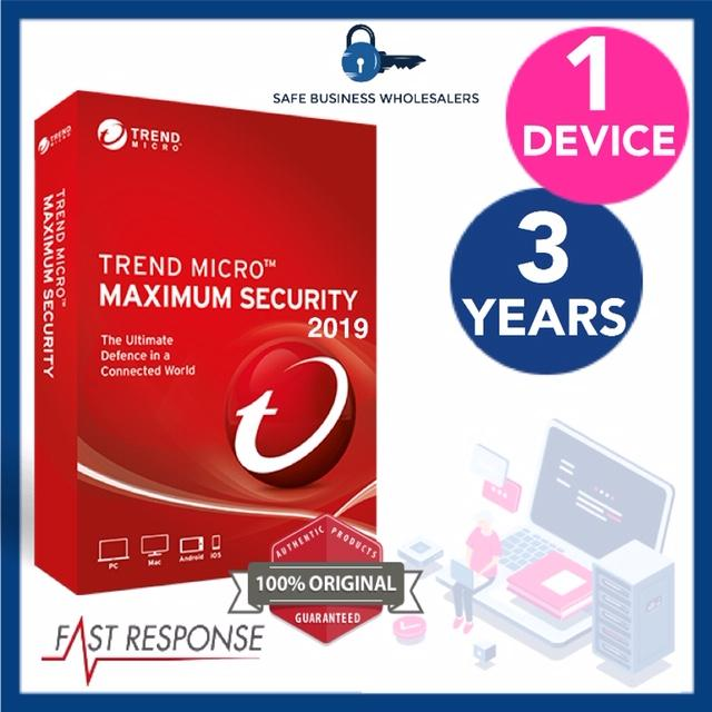 TREND MICRO MAXIMUM SECURITY 2019 - 1 DEVICE, 3 YEARS