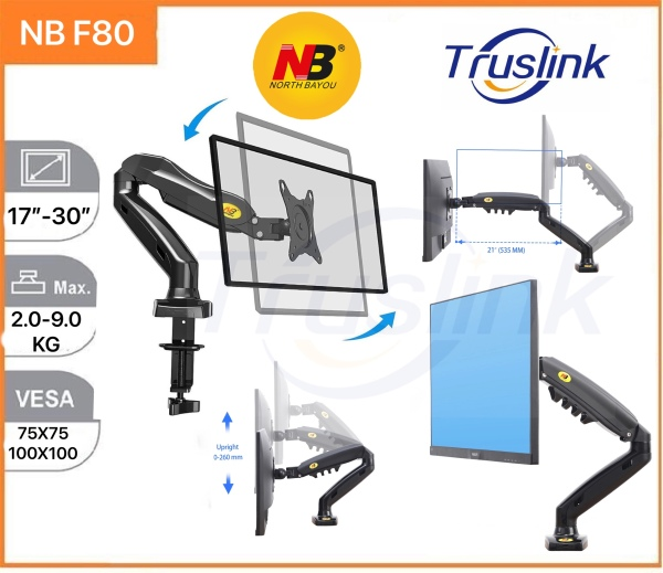 【SG Seller】Truslink Original North Bayou NB F80 Gas Spring LCD Monitor Arm 360 Degree Desktop Clamping 17-32 LCD Monitor Double VESA Mount Stand Single Monitor Stand Gas-Strut Flexi Mount