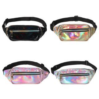 SAUSAGE Mới Quà tặng cho phụ nữ Thắt lưng da Sáng bóng mỏng Túi tập thể dục Neon PU Lase Holographic Túi đeo thắt lưng Gói Fanny thumbnail