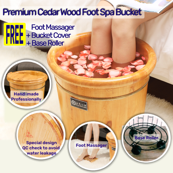 Buy Premium Grade Cedar Wood Foot Spa Bucket 🌱 with wooden foot massager 🌱bucket cover  🌱and base roller 🌱 - 40 cm Tall Singapore