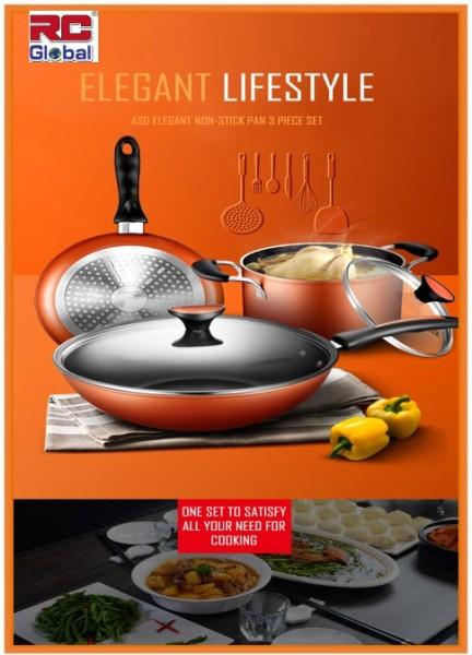 RC-Global ASD Series Products Frying Wok / Non-stick Wok / Non-smoke Wok / Kitchen Wok / 5 pcs cookware set (ASD 炒锅不黏锅无油烟锅5 件套) Singapore