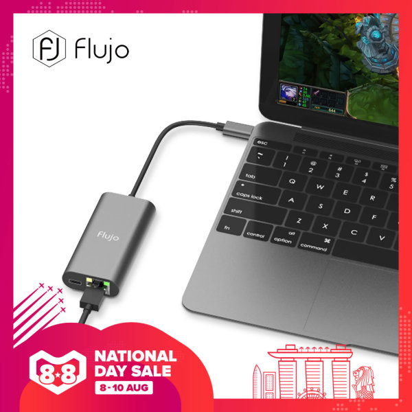 Flujo CH-14 Aluminium USB-C Ethernet Adapter Hub With 1-USB C Power Delivery+1-Gigabit Ethernet 10/100/1000 Mbps LAN Network for MacBook,Google Chromebook Pixel and more Type C Devices (Rose Gold/Space Grey/Gold/Silver)