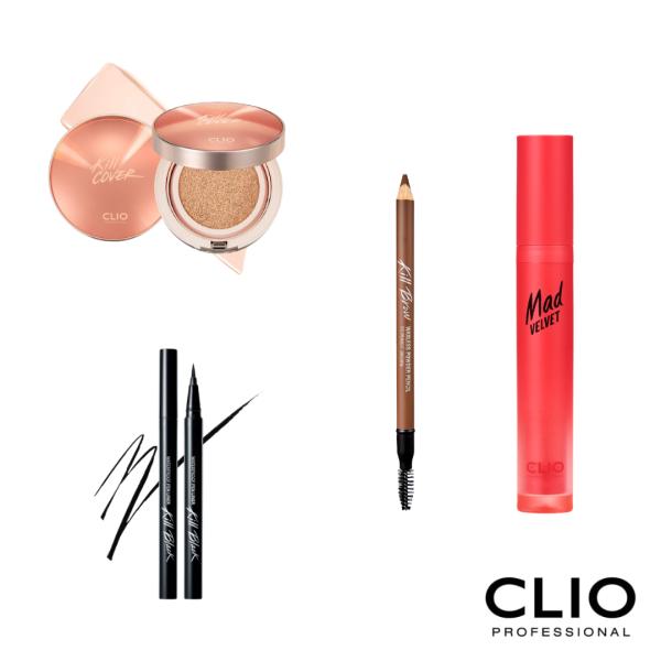 Buy CLIO Lazada Exclusive Set: Kill Cover Glow Cushion + Killbrow Waxless Powder Pencil 003 Peanut Brown + Waterproof Pen Liner Kill Black Original 01 Black + Mad Velvet Tint 09 Pink Ale Singapore
