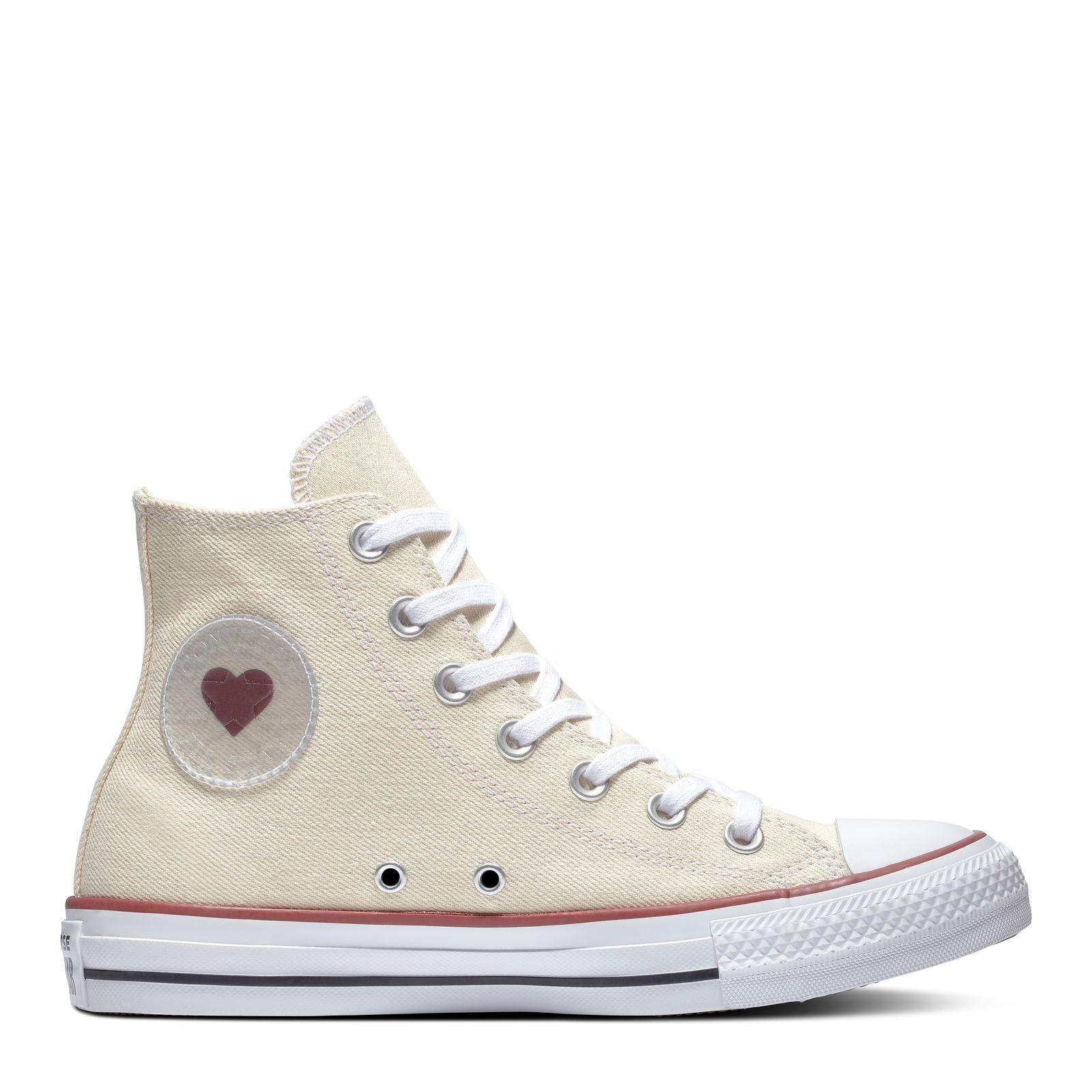 4ee93eb28e1645 CONVERSE CHUCK TAYLOR ALL STAR DENIM LOVE HI - NATURAL WHITE GARNET -  163304C