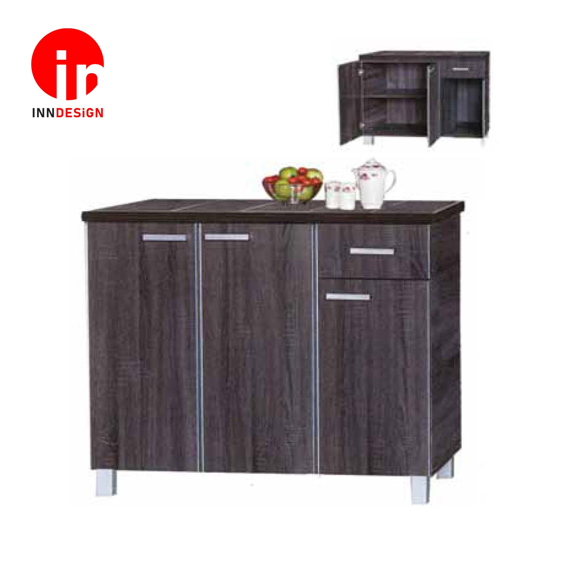 Cassiva 3 Doors With Drawer Kitchen Cabinet (Ceramic Tiles Top) (Free Delivery and Installation) (Walnut)